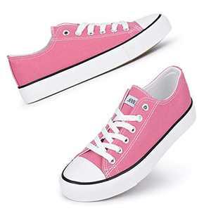 JENN ARDOR Women's Canvas Low Top Sneakers Classic Lace-up Casual Shoes Fashion Platform Comfort Walking Flats Peach Pink