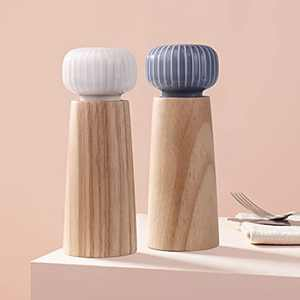 HAIPUSEN Salt and Pepper Mill Set - Wood and Ceramic Pepper Grinder Spice Mill with Adjustable Coarseness, 17.5 cm (Without Tray)