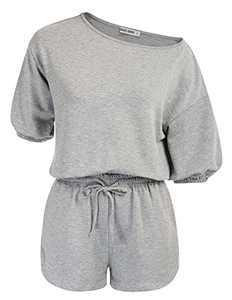 Women's Short Sleeve Pjs Set Loungewear Pullover Sweatsuit Light Gray XXL