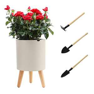Intelligent Plant Pot with Stand, 7.5 Inch Self Watering and Drainage System, Water Shortage Alarm Flower Pot for Indoor Outdoor Decoration