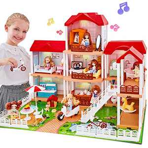 UNIH Dollhouse for 3 4 5 6 7 Year Old Girls, Princess Dream House Toys with Furniture Lights and Music for Christmas Birthday Gift (3 Layer)