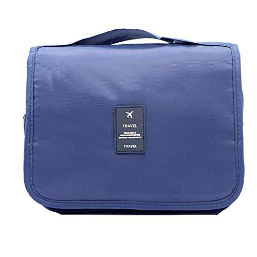 Hanging Toiletry Bag Travel Bag - Large Cosmetic Makeup Travel Toiletries Organizer for Men & Women with Sturdy Hook and Handle, Cosmetic Bag Travel Organizer for Accessories (Navy Blue)
