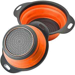 Rikivt Collapsible Colander Set, Dishwasher-Safe & Space-Saving Kitchen Strainers for Pasta, Vegetables, Fruits, 1 PC 4 Quart and 1 PC 2 Quart Folding Round Silicone Colander (Orange)