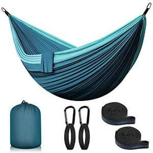 Ultralight Travel Camping Hammock | 660 LB Load Capacity, (118 x 78 in) Parachute Nylon | 2 x Premium carabiners, 2 x Nylon Slings Included | for The Outdoor Indoor