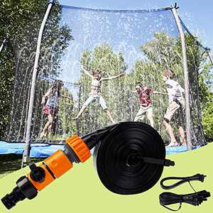 Prsildan Trampoline Water Sprinkler, 39FT Trampoline Accessories, Durable and Easily Install, Perfect Summer Outdoor Waterpark Atomize Hose Fun Game Toys for Adults Kids Boys Girls in Yard Garden