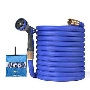 Expandable Garden Hose with 10 Function Nozzle, Leakproof Lightweight Retractable Water Hose with Solid Brass Fittings (75FT)