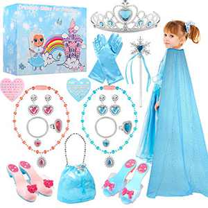TERTOY Princess Dress Up Shoes & Jewelry Boutique - Princess Toys with Purse, Blue Princess cloak, Crowns, Necklaces, Bracelets, Rings, Girls Beauty Gift Toys for Age 3 4 5 6 Year Old for Birthday Christmas