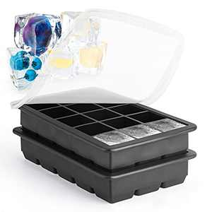 2-Pack Silicone Ice Cube Trays, Easy-Release 15-Ice Cube Molds with Spill-Resistant Removable Lids, BPA Free