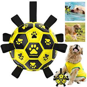 HAMBNAG Dog Soccer Ball with Grab Tabs, [Interactive Dog Ball with Nylon Grabber Handle][Large Durable Pets Ball Toy] for Water Beach Grass Outdoor, Dog Ball for Medium & Large Breed (Yellow-7.5 inch)
