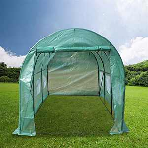 onEveryBaby Portable Greenhouse Large Gardening Plant Hot House Portable Walking in Tunnel Tent, Heavy Duty Gardening Dome Greenhouse Zippered Door Tent (15′x7′x7′)