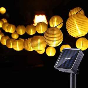 Solar LED Lanterns String Lights, Joomer Outdoor Lantern Lights String 19.6FT Pack of 30LED Nylon Lantern String Lights for Party,Christmas,Garden,Patio,Halloween, Decoration (Warm White)