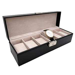 JIMHOO Watch Box Leather for Men Women (6 Slots), Premium PU Leather Watch Display Case Box Organizer, Removable Pillow -Black