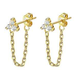 PATISORNA 925 Sterling Silver Chain Earrings Flower Stud Earrings with Chain Cubic Zirconia Minimalist Threader Dangle Earrings for Women Men(Gold)