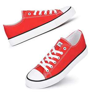 JENN ARDOR Women's Canvas Low Top Sneakers Classic Lace-up Casual Shoes Fashion Platform Comfort Walking Flats Red