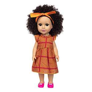 Baby Girl Doll, Curly Hair American Cute Doll, Accompanying Toy for Kids Girls Age 3+ Years, 35cm/ 13.7in Fashion Dressed Cute Delicate Dolls Great Gift for Birthday, Christmas, New Year (A)