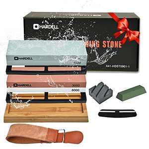 Knife Sharpening Stone Set,400/1000 and 3000/8000 Grit Whetstone Knife Sharpener Kit with Leather Razor Strop, Leather Honing Strop, Polishing Compound, Bamboo Base, and Flattening Stone by HARDELL…