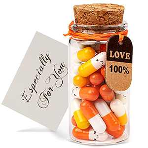 Halloween Valentines Day Present for Boyfriend, Girlfriend - Capsule Letters Message Love Letter Half Color Pill 30 Pcs Birthday Gift