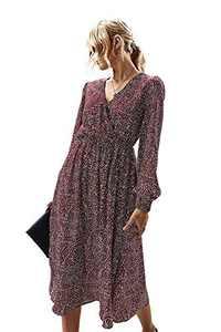 Enafad Women Faux Wrap Dress for Summer Casual Long Sleeve High Waist Midi Surplice Dresses Wine Red