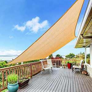 Yufol Sun Shade Sail 8' x 10' Rectangle UV Block Canopy for Outdoor Patio Garden Yard Patio Backyard Lawn -Sand Khaki