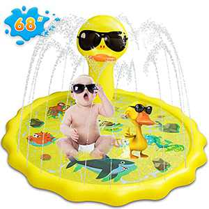 Aywewii Splash Pad, Sprinkler for Kids Toddlers, Splash Play Mat 68 inch Inflatable Baby Wading Pool for Fun Summer Outdoor Backyard Sprinkler Water Toy for Age 1-12 Year Old Children Boys Girls