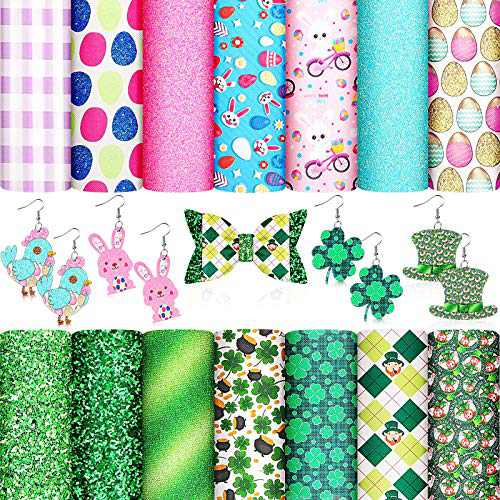 14 Pieces St Patrick's Day Faux Leather Sheet Easter Egg Bunny Printed Synthetic Leather Sheet Chunky Glitter Fabric Leather Sheet Shamrock Craft Leather for DIY Crafts Decoration, 6.3 x 8.3 Inches