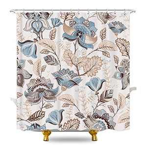 KOMLLEX Grey Teal Retro Flower Shower Curtain 60Wx72H Inches Indian Paisley Plant Herb Spring Garden Botanical Branch Watercolor Farmhouse Fabric Waterproof Polyester with 12 Pack Plastic Hooks
