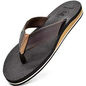 jiajiale Flip Flops for Mens Leather Arch Support Sandals Wide Comfort Yoga Mat Footbed Summer Beach Non Slip Rubber Sole Pool Shower Thongs Brown Size 8