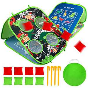 U&C Planet Bean Bag Toss Game Tic Tac Toe Game for Kids Family Corn Holes Indoor Outdoor Game Contains 1 Dinosaur Pattern Game Board 8 Bean Bags and 1 Storage Bag