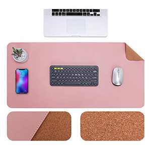 """GRANNY SAYS Desk Pad with Sewing Edge, Cork & PU Leather Desk Mat, Dual-Sided Waterproof Desk Blotter Protector, Office Desk Mat for Keyboard and Mouse, 31.5"""" x 15.7"""", Rouge Pink/Cork"""