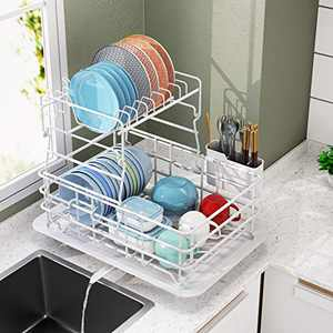 Dish Drying Rack, 1Easylife 2-Tier Dish Drainer for Kitchen Rustproof Dish Rack and Drainboard Set with Removable Utensil Holder and Adjustable Swivel Spout, Countertop Dry Rack (White)