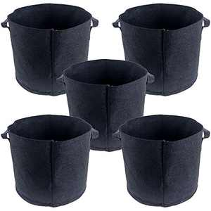 Garden&World 5-Pack 5 Gallon Heavy Duty 300G Plant Grow Bags Thickened Nonwoven Fabric Pots with Handles