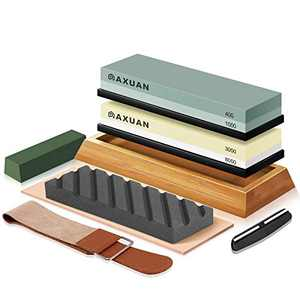 Knife Sharpening Stone Set, 4 Side Grit 400/1000 3000/8000 Wet Stones Kitchen Knife Sharpener Kit with Non-slip Bamboo Base, Polishing Compound, Flattening Stone, Angle Guide, Leather Razor Strop