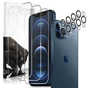 "Montewill 3 Pack Screen Protector for iPhone 12 Pro Max 6.7"" with 4 Pack Camera Lens Protector, 9H HD Tempered Glass, Case Friendly Anti-Scratch Anti-Fingerprint Anti-Smudge Shatterproof Clear"