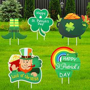 Jetec 5 Pieces St. Patrick's Day Yard Sign Outdoor Lawn Decoration Irish Leprechaun Horseshoe Shamrock Yard Sign with Stakes, St. Patrick's Day Garden Outdoor Decorations