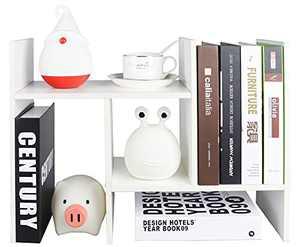 Desktop Organizer Office Storage Rack Adjustable Wood Display Shelf | Birthday Gifts - Toy - Home Decor | - Rotation Display - True Natural Stand Shelf White