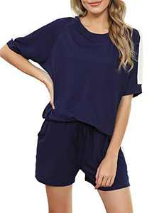 Irevial Lounge Sets for Women Shorts, Female 2 Piece Pajamas Crewneck Tops and Pants with Pocket Sleepwear Elastic Summer Tracksuit Outfits Navy Blue XL