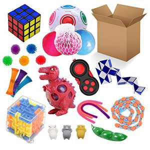Fidget Toys Set,Simples-Dimples Fidgets Toys Pack,Sensory Toys Stress Toys Anxiety Relief Toys, Fidget Box with Mochi Squishy Marble Mesh DNA Stress Ball Wacky Tracks Stretchy String &More (25 Pack)