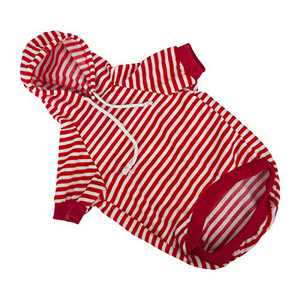 Dog Hoodie Pet Sweatshirt Clothes Doggie Sweater Pajamas with Hat Striped Red L