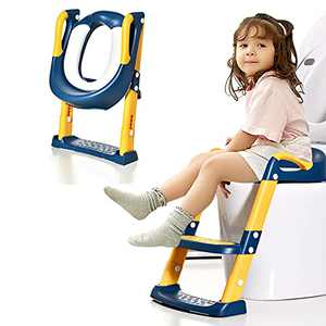 Potty Training Seat Toddler Toilet Seat with Adjustable Step Stools Ladder for Boys and Girls Non-Slip Kid's Potty Chair with Handles Portable Training Toilet Seat (Blue-Yellow)