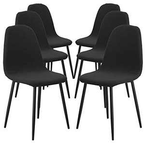 SearchI Shell Chair Cover Mid Century Modern Style for Kitchen Dining Room Chair Slipcovers Dining Chair Covers Parsons Chair Slipcover Stretch Chair Covers for Dining Room (Black, Set of 6)