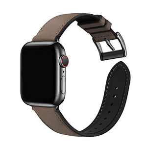 Bestig Compatible with Apple Watch Bands, Waterproof Genuine Leather and Silicone Hybrid Strap 42mm 44mm for iwach SE Series 6 5 4 3 2 1, Sports Edition (Coffee Band+Black Connector 42mm 44mm)