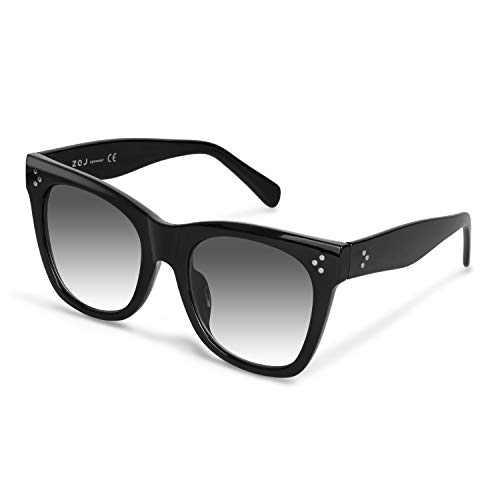 Classic Square Sunglasses for Women, Retro Polarized Shades Sunglasses Vintage Luxury Style 100% UV Protection (Black, Gradient Gray)
