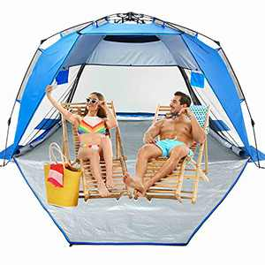 Easy Up Folding Beach Tent ,Privacy Deluxe XXL Sun Shelter for Family and Sports Events,SPF 50+,Large Ventilation Windows and Storage Pockets with Stakes