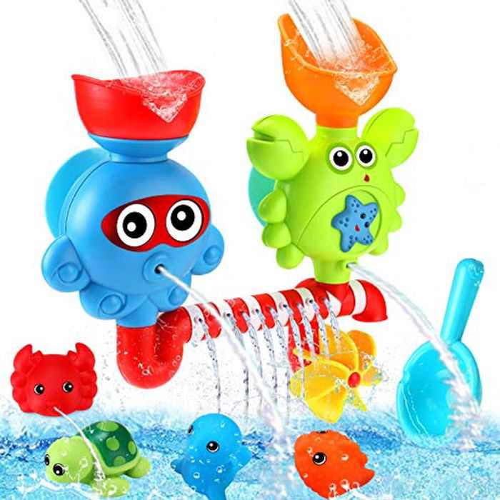 Luclay Baby Bath Toys, Bathtub Toys for 1 2 3 4 + Year Olds Boys Girls Gift Set, Baby Waterfall Shower Toys with Powerful Suction Cup Floating Seal Turtle Crab Porcupine, Great for Birthday, Christmas