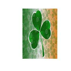"""senya St Patrick's Day Clover Fabric Garden Flags Banner for Indoor & Outdoor Decoration Party 12"""" x 18"""" Double Sided,100% Polyester"""