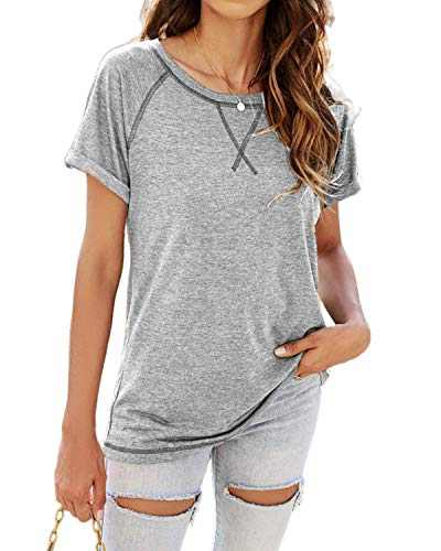 ayreus Women's Casual T-Shirts Short Sleeve Round Neck Raglan Tee Side Split Tunic Tops(Light Grey,Medium)