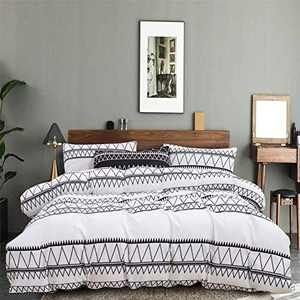 Omelas White Boho Duvet Cover Queen Aztec Geometric Triangle Textured Bedding Set Bohemian Moroccan Striped Microfiber Quilt Covers with Zipper Ties,No Comforter