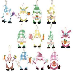 36Pcs Easter Wooden Gnome Ornaments- 12 Styles Wood Colorful Gnome and Bunnies Ornaments for Wall Hanging Easter Party Supplies Home Decoration