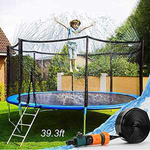 EagleStone Trampoline Sprinkler Backyard Yard Games Water Park Summer Outdoor Waterpark Toys for Kids 39ft