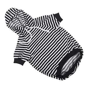 Hozz Dog Hoodie Pet Sweatshirt Clothes Doggie Sweater Pajamas with Hat Striped Black M